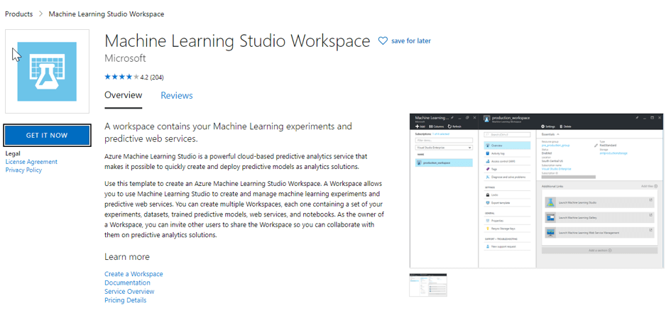 Setting up the Machine Learning Studio Workspace