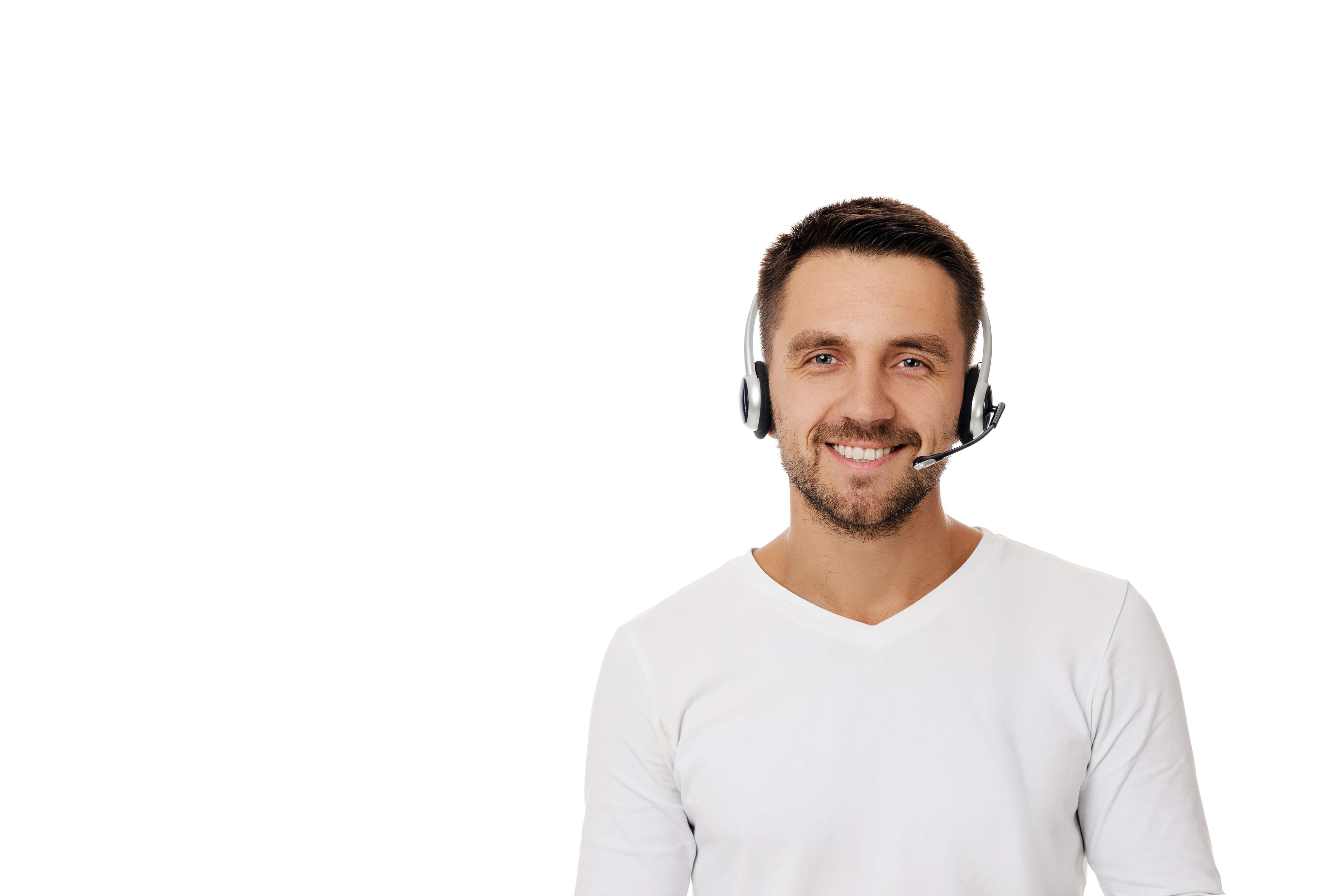 service employee with headset