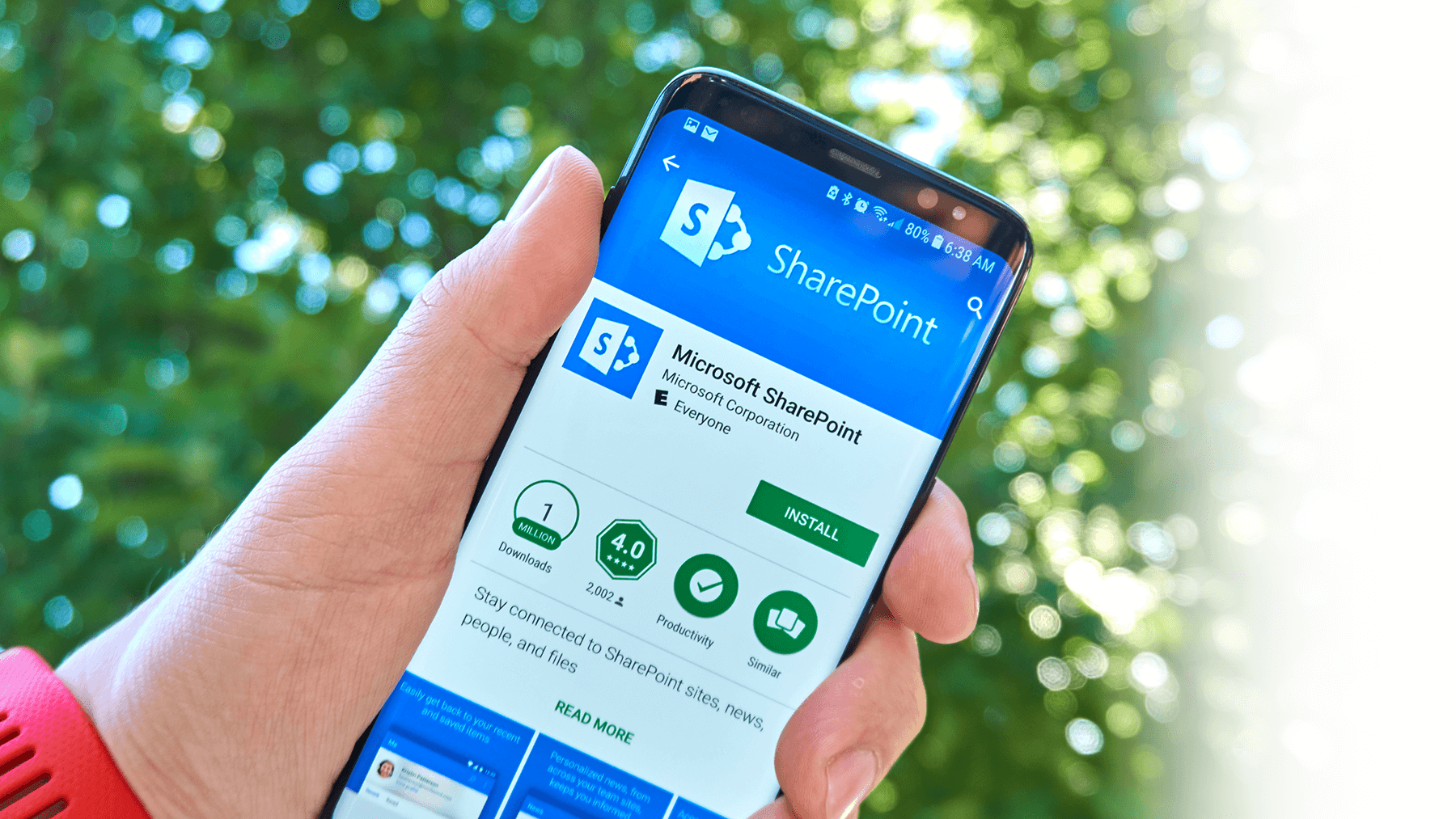 smartphone shows microsoft sharepoint app